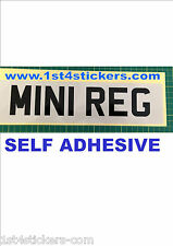 MINI VINYL STICK ON NUMBER PLATE  SMALL CUSTOM SHOW PLATE ONLY 300mm  X 70mm