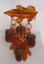 Vintage Bakelite Dangle Bar Pin Fall Carved Oak Leaves&Acorns Amber Root Beer