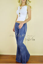 DENIM Distressed Faded Blue STRETCH Long FLARE Yoga BELL BOTTOM Knit Pants S