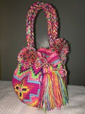Colombian Handmade Wayuu Small Mochila Bag short handles Pom Pom Nuanced