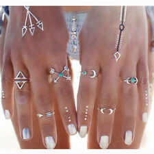 6pcs Silver Mid Midi Above Knuckle Ring Band Arrow Moon Tip Finger Stacking Ring