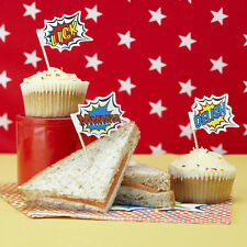 Superhero Childrens Birthday Party Food Flags, Cake Toppers!