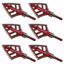 6 PCs 100/125 Hunting Broadheads 4 Blade Arrow Heads Archery Tips Red