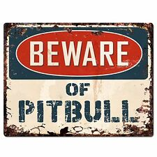 PP1416 Beware of PITBULL Plate Rustic Chic Sign Home Store Wall Decor Gift