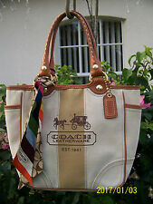 COACH BLEEKER HERITAGE CANVAS-TOTE-#11791-EUC! HTF!