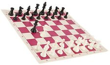 """Black & White Chess Pieces & 20"""" Pink Vinyl Board - Single Weighted Chess Set"""