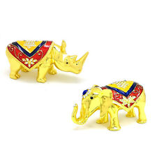 * Chinese New Year Feng Shui * Pair of Golden Rhinoceros and Elephant