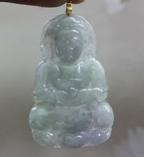 "G18K Certified ""A"" Natural Icy Lavender Green Jadeite Jade Kwan-yin Pendant #699"