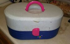 Vintage Caboodles Blue Gray Pull Out Tray Mirror Make-up Case Organizer GUC