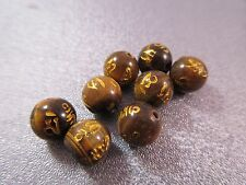 Tibetan Tiger' Eye Sanskrit Mantra Om Mani Padma Hum Round 8mm Beads 8pcs