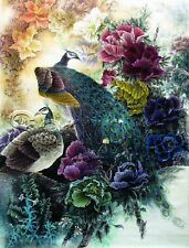 PEACOCKS AVIARY BIRDS PEONY FLOWERS ASIAN CHINESE VINTAGE *CANVAS* ART PRINT