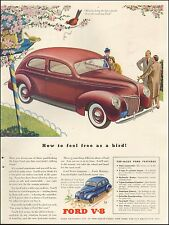 1939 Vintage ad for Ford V-8 Retro Car` Red Photo Art Flowers Bird (112615)
