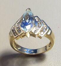 14K YELLOW GOLD RING, 2.0 CT. AQUAMARINE, 20 ROUND DIAMONDS .40CT TW, SIZE 6.75+