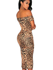 Sexy Leopard Print Off-The-Shoulder Midi party dress women fashion bodycon 2016