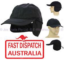 Men Winter Skiing Fleece Ear Warmer Size Adjustable Baseball Visor Cap Hat BLACK