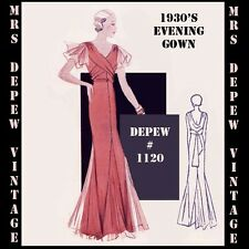 Vintage Sewing Pattern 1930's Evening or Wedding Gown in Any Size Depew #1120