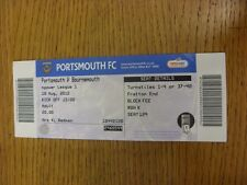 18/08/2012 Ticket: Portsmouth v Bournemouth  (folded). Thanks for viewing this i