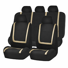Full Car Seat Covers Set Beige Black For Auto Truck SUV