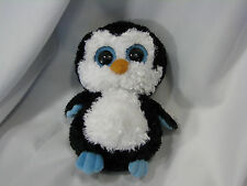 """TY BEANIE BOO BOOS STUFFED PLUSH WADDLES PENGUIN 2010 SOLID BIG EYE MED 9"""" TAGS"""