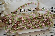 "18"" ANTIQUE VINTAGE FRENCH PINK GRN ROCOCO ROSETTE RIBBON WORK FLOWER TRIM DOLL"