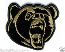 "(D12) Small BROWN GRIZZLY BEAR 4"" x 3.5"" iron on patch (3568) Biker Vest"