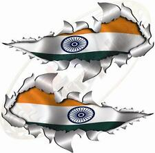Small Size Indian India flag Metal Rip Open Sticker 4X4 Race Car Truck Van Bike
