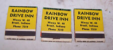 3 Vintage RAINBOW DRIVE IN Matchbooks BRAZIL INDIANA US Highway 40