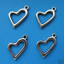 10 Tibetan Silver Hollow Heart Pendant Charms