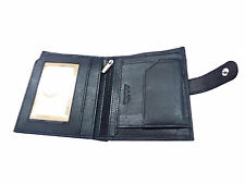 Genuine Leather Wallet Purse for Men Gents with Card Slots side closing - Black