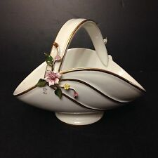 BEAUTIFUL Vintage Capodimonte BC Italy Porcelain Flowers Floral White basket