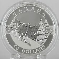 Canada 2014 $10 Skiing Canada's Slopes 1/2 oz Pure Silver Matte Proof Coin