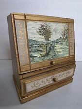 Vintage Wooden Monet Painted Music Box Jewelry Box Dr Zhivago Lara's Theme Song