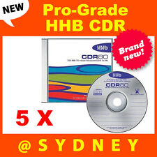 5x NEW HHB CDR-80 Silver Pro-Grade 700MB/80 Min Recordable Blank CD Compact Disc