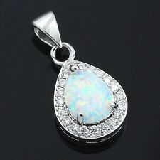 "Oval White Fire Opal CZ Teardrop Pendant Necklace 925 Sterling Silver 18"" Chain"