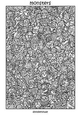 "DOODLE POSTER ""Monsters"" - Massive A1 (84cm x 59cm) Colouring In Poster"