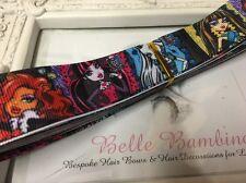New 1 Metre Monster High Print Grosgrain Ribbon Designer 22mm Cakes Bow Dummy