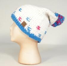 Roxy Snow Collection White Pink & Blue Bulky Knit Beanie Pom Pom Ski Cap Womans