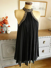 JANE NORMAN BLACK PLEAT BEADED SWING DRESS 1920,1930S,DOWNTON,GATSBY 10 *BNWT*