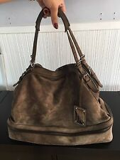 DOLCE & GABBANA Suede Leather Handbag - LG - Dusty Bark Color w/ Silver Hardware