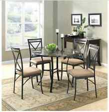 5-Piece Dining Set Mainstays Faux Marble Top Kitchen Table Chairs Dinner