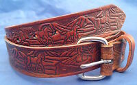 Natural Veg Tan Leather Horses Embossed Belt Choice of Buckle & Colour Handmade