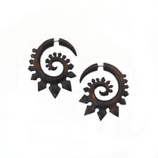 Carved Wood Earrings Stegosaurus Tribal Faux Gauge Jewelry Organic Handmade gift