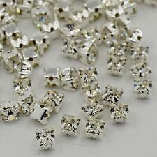 50pcs Silver Clear Crystal Montees Sew on Rhinestones Beads DIY Square Grade A