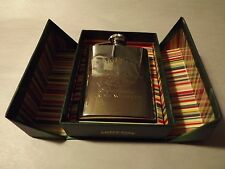 Vintage JAMESON WHISKEY SINE METU CREST Stainless Steel 3oz FLASK_Nipper !