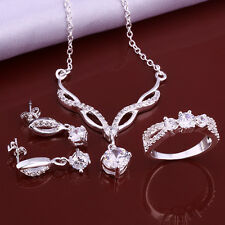 NEW 925 Silver Crystal Necklace Earrings Ring Jewelry Set Bridal Prom