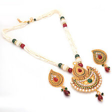 Indian Kundan Ad Cz Jade Pearl Polki Multi-Stones Handmade Pendant Set 6683