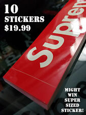 PACK OF 10 SUPREME RED BOX LOGO VINYL GLOSS STICKERS WIN FREE SUPER SIZE POSTER