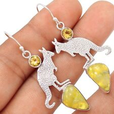 Kangaroo - Golden Sun Opal & Citrine 925 Silver Earrings Jewelry SE106378