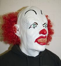 Full head & Chest Deluxe Killer Clown Mask Halloween With Red Wig Fancy Dress