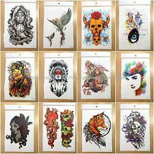 12pcs large arm temporary tattoo wholesale sugar skull eye fox fake tatoos